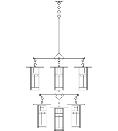 Arroyo Craftsman FCH-9L/4/4-1G-BK Franklin 9 Light 33 inch Satin Black Foyer Chandelier Ceiling Light in Green and Black Silk Screen photo