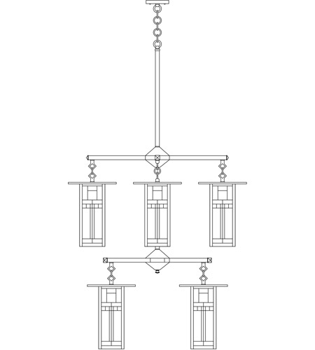 Arroyo Craftsman FCH-9L/4/4Y-BK Franklin 8 Light 33 inch Satin Black Foyer Chandelier Ceiling Light in Yellow and Black Silk Screen photo