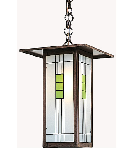 Arroyo Craftsman FH-9LG-BZ Franklin 1 Light 9 inch Bronze Pendant Ceiling Light in Green and Black Silk Screen photo