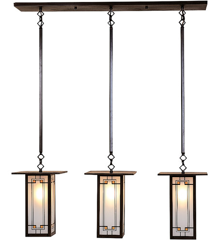 Arroyo Craftsman FICH-9L/3Y-BZ Franklin 3 Light 37 inch Bronze Pendant Ceiling Light in Yellow and Black Silk Screen photo