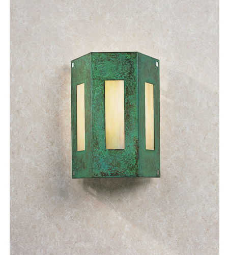 Arroyo Craftsman FS-3/3GW-VP Franklin 1 Light 8 inch Verdigris Patina Wall Mount Wall Light in Gold White Iridescent photo