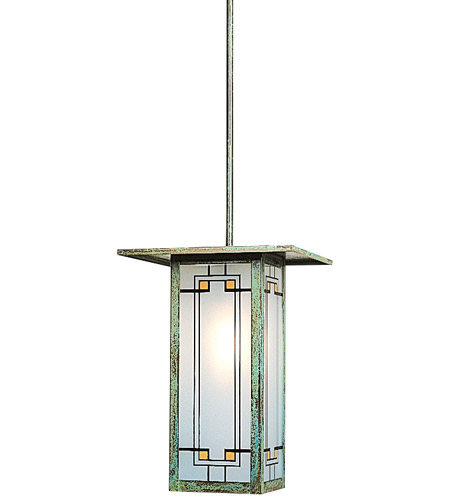 Arroyo Craftsman FSH-9LY-VP Franklin 1 Light 9 inch Verdigris Patina Pendant Ceiling Light in Yellow and Black Silk Screen photo
