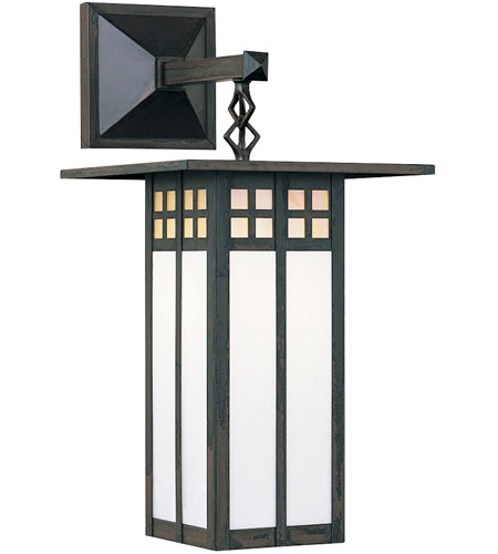 Arroyo Craftsman GB-9LSAGWC-BZ Glasgow 1 Light 19 inch Bronze Outdoor Wall Mount in Gold White Iridescent and White Opalescent Combination photo