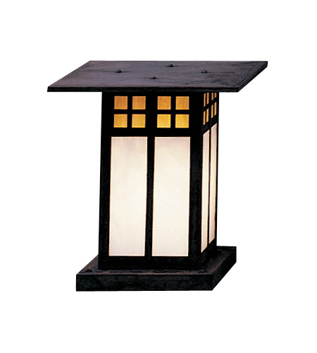 Arroyo Craftsman GC-9GWC-MB Glasgow 1 Light 10 inch Mission Brown Column Mount in Gold White Iridescent and White Opalescent Combination photo