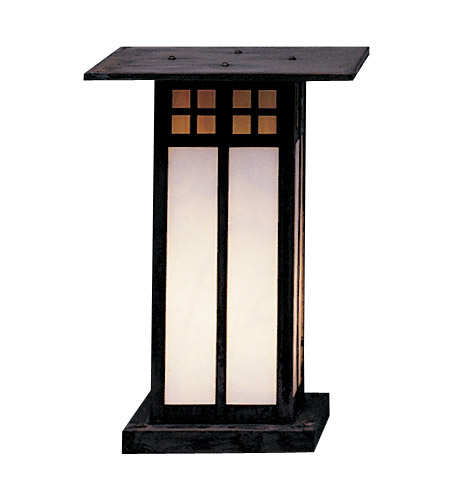 Arroyo Craftsman GC-9LGWC-MB Glasgow 1 Light 13 inch Mission Brown Column Mount in Gold White Iridescent and White Opalescent Combination photo