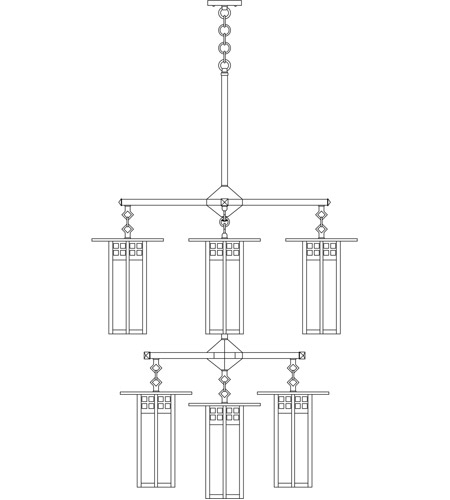Arroyo Craftsman GCH-9L/4/4-1GWC-BK Glasgow 9 Light 33 inch Satin Black Foyer Chandelier Ceiling Light in Gold White Iridescent and White Opalescent Combination photo