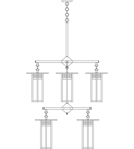 Arroyo Craftsman GCH-9L/4/4OF-BK Glasgow 8 Light 33 inch Satin Black Foyer Chandelier Ceiling Light in Off White photo