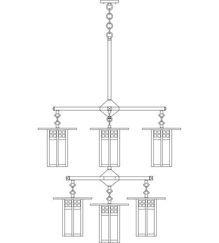 Arroyo Craftsman GCH-9/4/4-1F-BK Glasgow 9 Light 33 inch Satin Black Foyer Chandelier Ceiling Light in Frosted photo