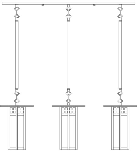 Arroyo Craftsman GICH-9L/3GWC-BK Glasgow 3 Light 37 inch Satin Black In-Line Chandelier Ceiling Light in Gold White Iridescent and White Opalescent Combination photo