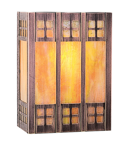 Arroyo Craftsman GSADA-9GW-AC Glasgow 1 Light 7 inch Antique Copper ADA Wall Mount Wall Light in Gold White Iridescent photo