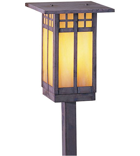Arroyo Craftsman GSP-6LGW-MB Glasgow 60 watt Mission Brown Landscape Light in Gold White Iridescent photo