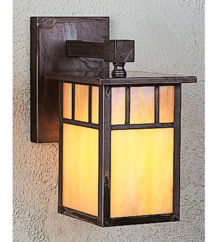Arroyo Craftsman HB-4LWDTGW-MB Huntington 1 Light 5 inch Mission Brown Wall Mount Wall Light in Gold White Iridescent photo