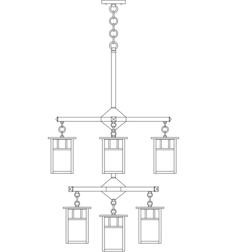 Arroyo Craftsman HCH-4L/4/4-1DTCR-BK Huntington 9 Light 24 inch Satin Black Foyer Chandelier Ceiling Light in Cream, Double T-Bar Overlay, Double T-Bar Overlay photo
