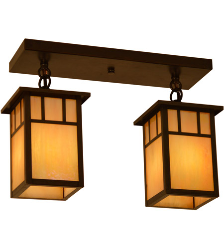 Arroyo Craftsman HCM-4L/2DTGW-BZ Huntington 2 Light 15 inch Bronze Flush Mount Ceiling Light in Gold White Iridescent photo thumbnail