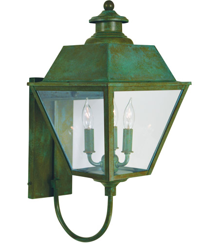 Arroyo Craftsman INB-10MRCLR-VP Inverness 3 Light 23 inch Verdigris Patina Outdoor Wall Mount in Clear photo