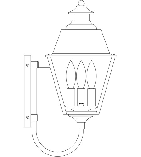 Arroyo Craftsman INB-8MRRM-P Inverness 3 Light 18 inch Pewter Outdoor Wall Mount in Rain Mist photo