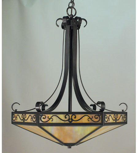 Arroyo Craftsman LICH-21AM-BK Lily 4 Light 21 inch Satin Black Inverted Pendant Ceiling Light in Almond Mica photo