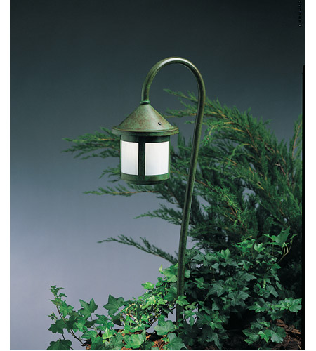 Arroyo Craftsman LV36-B6SWO-VP Berkeley 18 watt Verdigris Patina Landscape Light in White Opalescent photo