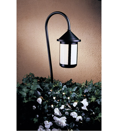 Arroyo Craftsman LV36-B6WO-BK Berkeley 18 watt Satin Black Landscape Light in White Opalescent photo