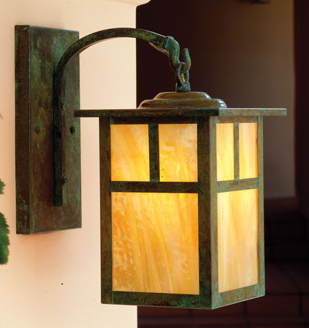 Arroyo Craftsman MB-6TGW-VP Mission 1 Light 6 inch Verdigris Patina Wall Mount Wall Light in Gold White Iridescent photo