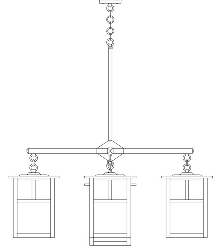 Arroyo Craftsman MCH-10/4-1TRM-BK Mission 5 Light 40 inch Satin Black Foyer Chandelier Ceiling Light in Rain Mist, T-Bar Overlay, T-Bar Overlay photo