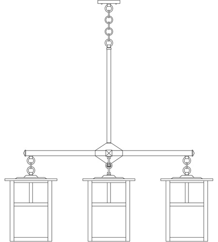 Arroyo Craftsman MCH-10/4TCR-BK Mission 4 Light 40 inch Satin Black Foyer Chandelier Ceiling Light in Cream, T-Bar Overlay, T-Bar Overlay photo