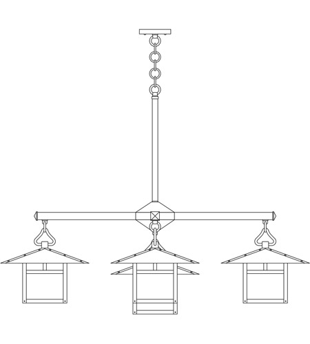 Arroyo Craftsman MCH-12/4-1TWO-BK Monterey 5 Light 41 inch Satin Black Dining Chandelier Ceiling Light in White Opalescent, T-Bar Overlay, T-Bar Overlay photo