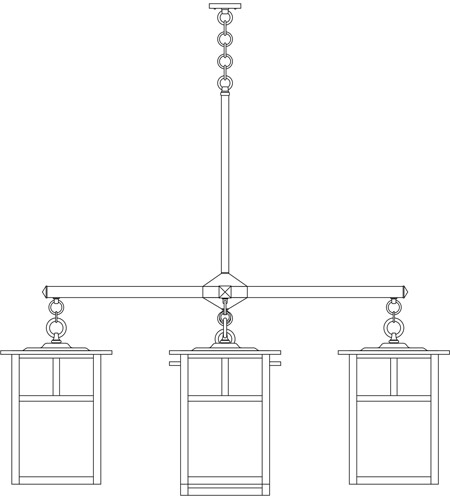Arroyo Craftsman MCH-15/4-1TRM-BK Mission 5 Light 61 inch Satin Black Foyer Chandelier Ceiling Light in Rain Mist, T-Bar Overlay, T-Bar Overlay photo
