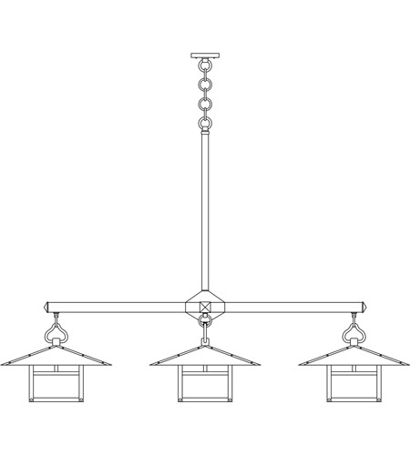 Arroyo Craftsman MCH-17/4TWO-BK Monterey 4 Light 63 inch Satin Black Foyer Chandelier Ceiling Light in White Opalescent, T-Bar Overlay, T-Bar Overlay photo