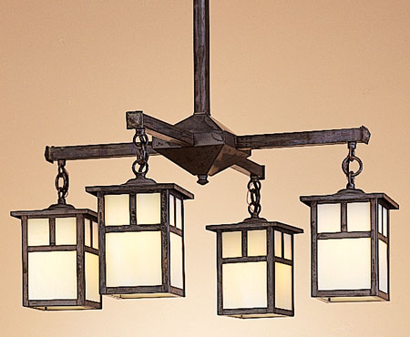 Arroyo Craftsman MCH-5/4TOF-BZ Mission 4 Light 23 inch Bronze Chandelier Ceiling Light in Off White photo