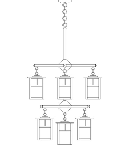 Arroyo Craftsman MCH-6/4/4-1TGW-BK Mission 9 Light 25 inch Satin Black Foyer Chandelier Ceiling Light in Gold White Iridescent, T-Bar Overlay, T-Bar Overlay photo