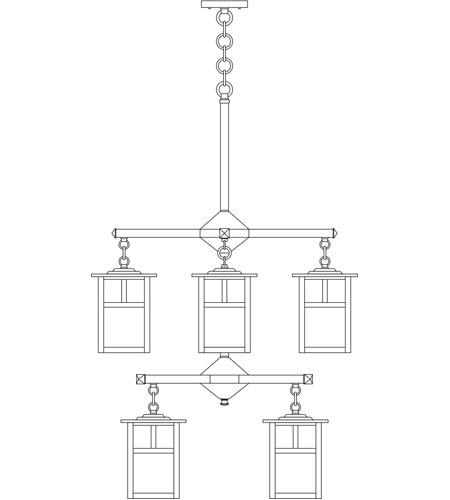 Arroyo Craftsman MCH-6/4/4TOF-BK Mission 8 Light 25 inch Satin Black Foyer Chandelier Ceiling Light in Off White, T-Bar Overlay, T-Bar Overlay photo