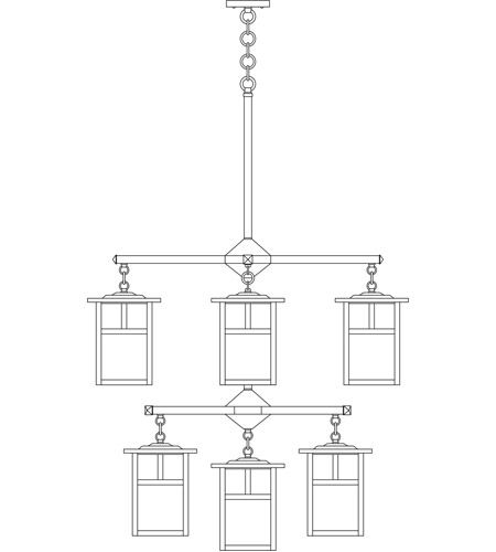 Arroyo Craftsman MCH-7/4/4-1TCR-BK Mission 9 Light 32 inch Satin Black Foyer Chandelier Ceiling Light in Cream, T-Bar Overlay, T-Bar Overlay photo