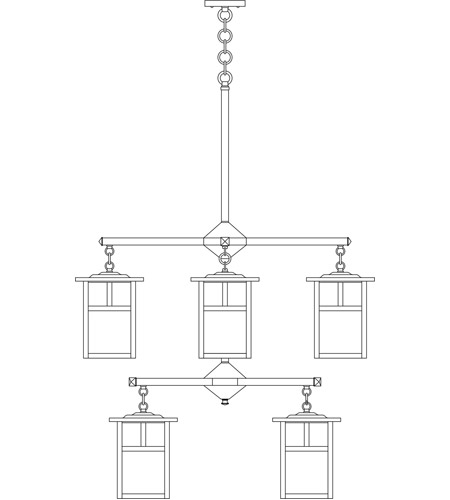 Arroyo Craftsman MCH-7/4/4TRM-BK Mission 8 Light 32 inch Satin Black Foyer Chandelier Ceiling Light in Rain Mist, T-Bar Overlay, T-Bar Overlay photo