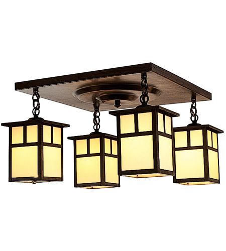 Arroyo Craftsman MCM-5/4TCR-BZ Mission 4 Light 17 inch Bronze Flush Mount Ceiling Light in Cream photo