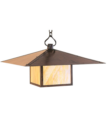 Arroyo Craftsman MH-30PFM-AC Monterey 1 Light 30 inch Antique Copper Pendant Ceiling Light in Amber Mica