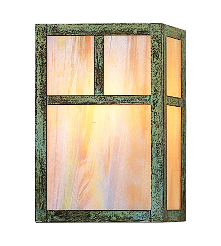 Arroyo Craftsman MS-10TGW-VP Mission 1 Light 7 inch Verdigris Patina Wall Mount Wall Light in Gold White Iridescent photo