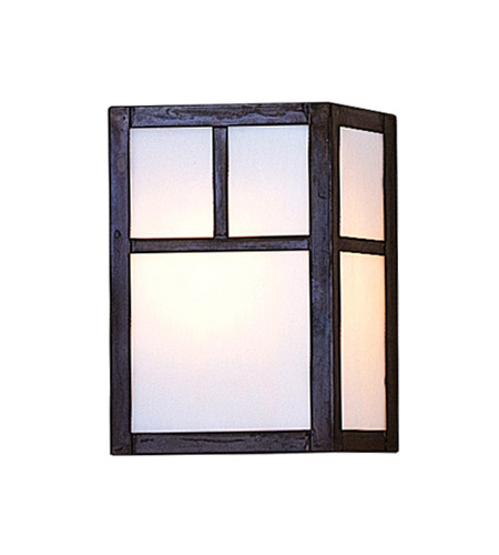 Arroyo Craftsman MS-8TWO-MB Mission 1 Light 5 inch Mission Brown Wall Mount Wall Light in White Opalescent photo