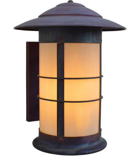 Arroyo Craftsman NS-14LOF-RC Newport 1 Light 18 inch Raw Copper Outdoor Wall Mount in Off White photo thumbnail
