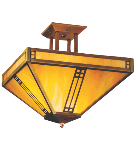 Arroyo Craftsman PIH-18M-BK Prairie 4 Light 18 inch Satin Black Semi-Flush Mount Ceiling Light in Amber Mica