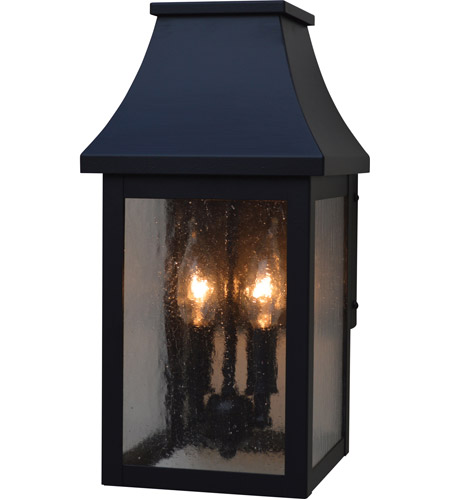 Arroyo Craftsman PRW-7CS-BK Providence 2 Light 14 inch Satin Black Outdoor Wall Mount in Clear Seedy