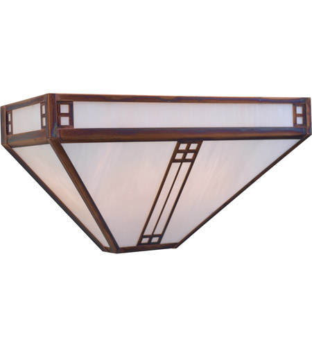 Arroyo Craftsman PS-15M-S Prairie 2 Light 15 inch Slate Wall Mount Wall Light in Amber Mica