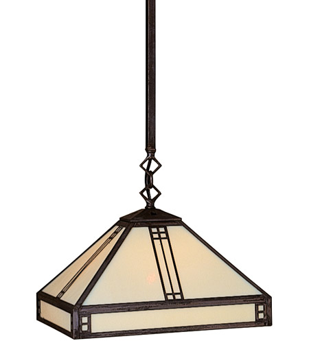 Arroyo Craftsman PSH-12OF-RB Prairie 1 Light 12 inch Rustic Brown Pendant Ceiling Light in Off White