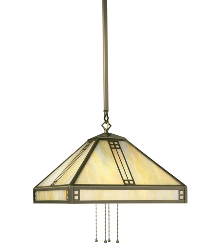 Arroyo Craftsman PSH-15GW-AB Prairie 4 Light 15 inch Antique Brass Pendant Ceiling Light in Gold White Iridescent