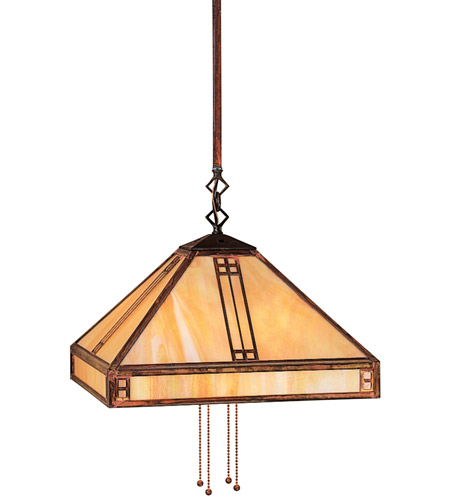 Arroyo Craftsman PSH-15F-AB Prairie 4 Light 15 inch Antique Brass Pendant Ceiling Light in Frosted