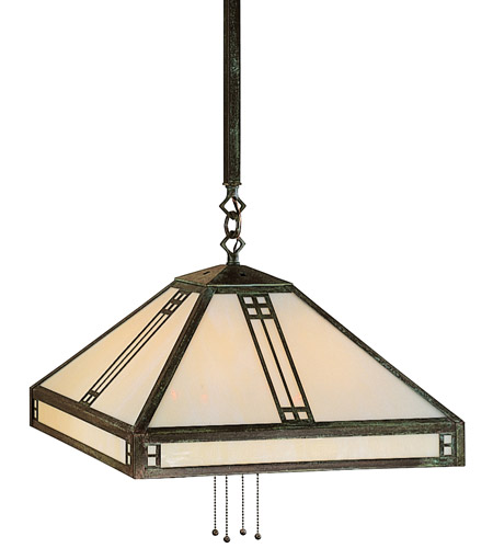 Arroyo Craftsman PSH-18GW-MB Prairie 4 Light 18 inch Mission Brown Pendant Ceiling Light in Gold White Iridescent