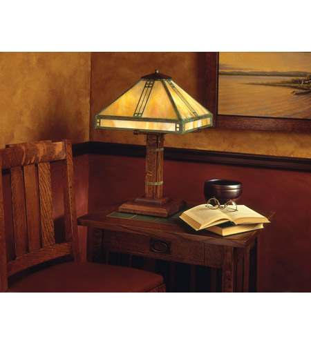 Arroyo Craftsman PTL-15RM-AB Prairie 23 inch 40 watt Antique Brass Table Lamp Portable Light in Rain Mist PTL-15GW-VP-env.jpg