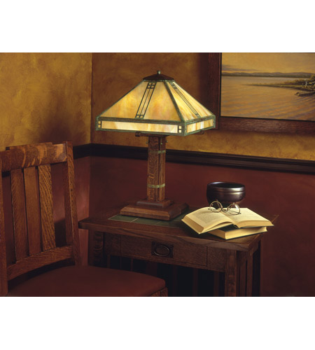 Arroyo Craftsman PTL-15GW-MB Prairie 23 inch 40 watt Mission Brown Table Lamp Portable Light in Gold White Iridescent