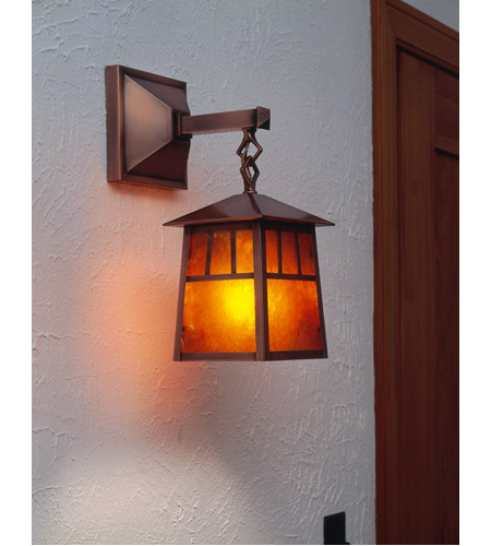 Arroyo Craftsman RB-8M-P Raymond 1 Light 19 inch Pewter Outdoor Wall Mount in Amber Mica RB-8M-AC-env.jpg