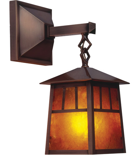 Arroyo Craftsman RB-8M-P Raymond 1 Light 19 inch Pewter Outdoor Wall Mount in Amber Mica